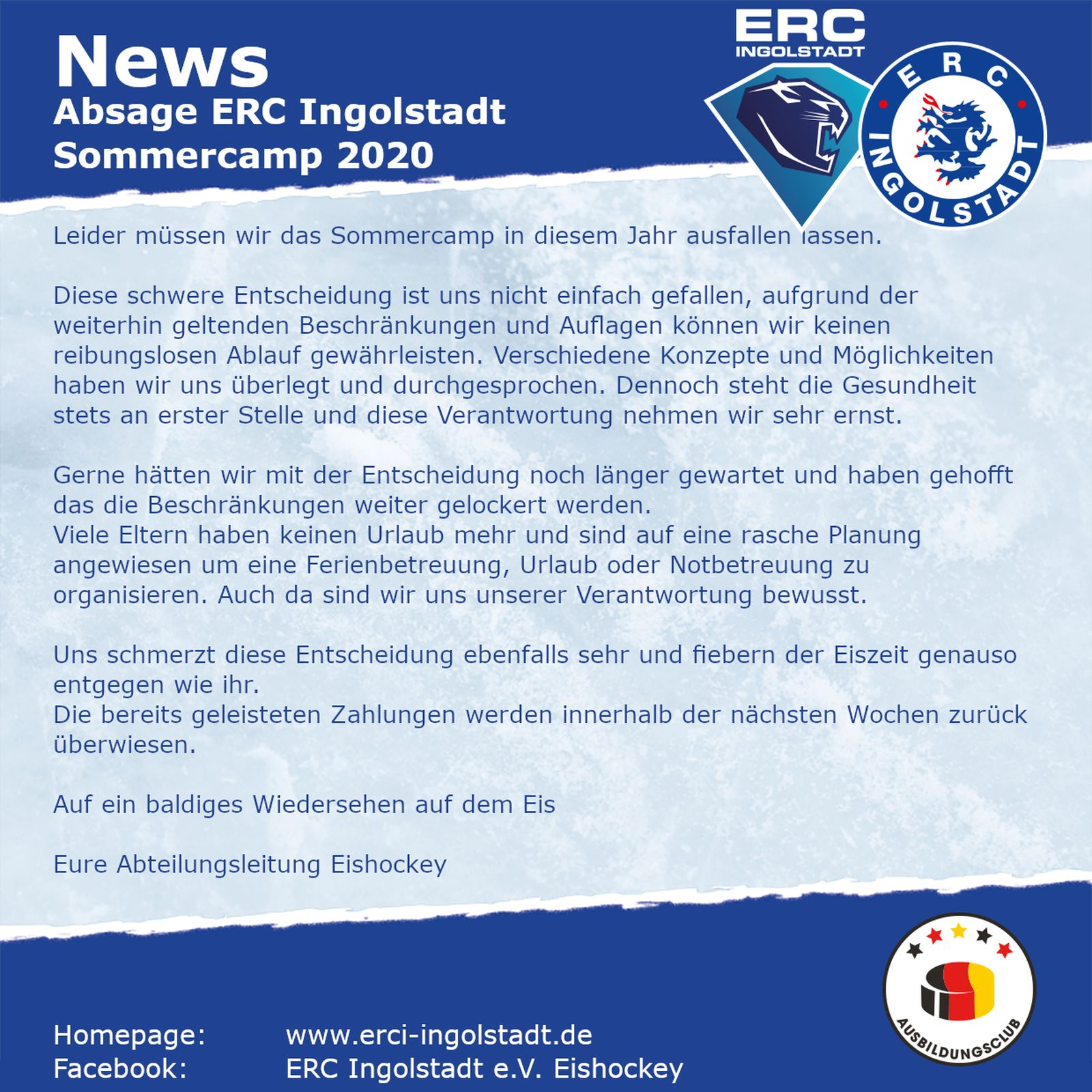 News Absage Sommercamp
